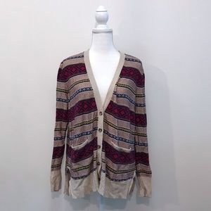 Mossimo Striped Cardigan Sweater Tan Red Large